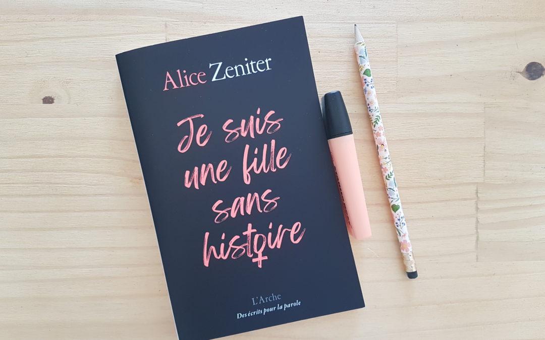 Chronique : Je suis une fille sans histoire, livre d'Alice Zeniter
